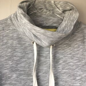 Boden Tops - BODEN Marled Light Gray Mock Hood Cowl Sweatshirt
